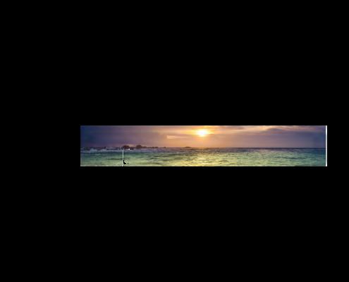 Echtglas-Rueckwand-Meer-Wellen-Sonnenuntergang