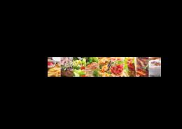 Echtglas-Rueckwand-Nahrung-Kollage